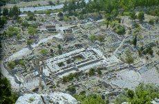 Luftansicht des antiken Delphi